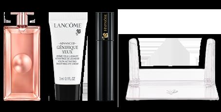 Set darčekov Lancôme (vôňa Idole L'Intense 5 ml, očný krém Advanced Génifique 3 ml, mini riasenku Hypnôse a stojan na vône z rady Idole)
